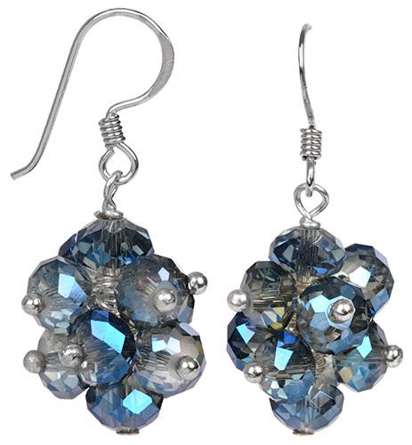 JwL Luxury Pearls Zářivé náušnice z broušených světle modrých krystalů JL0271
