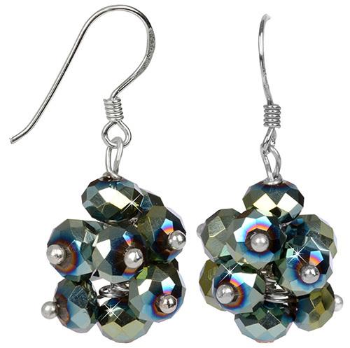 JwL Luxury Pearls Zářivé náušnice z broušených zelených krystalů JL0272