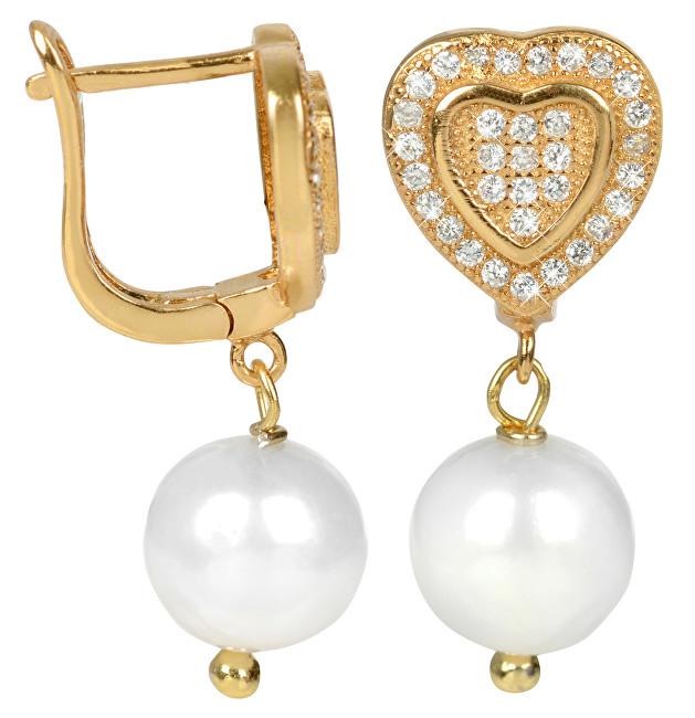 JwL Luxury Pearls Zlacené stříbrné náušnice srdíčka s bílou perlou JL0236