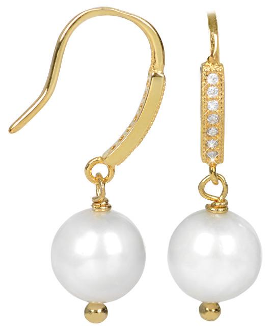 JwL Luxury Pearls Zlacené stříbrné visací náušnice s bílou perlou JL0234