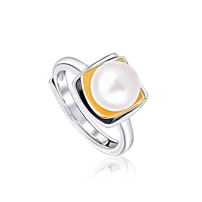 JwL Luxury Pearls Bicolor stříbrný prsten s pravou perlou JL0623