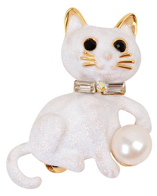 JwL Luxury Pearls Pussy Broșă cu Pearl Dreapta și Cristale JL0385
