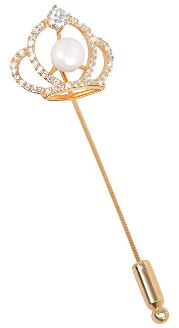 JwL Luxury Pearls Broșă coroană regală cu perla dreaptă și cristale JL0387