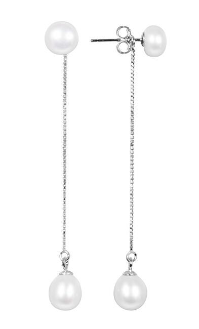 JwL Luxury Pearls Dlouhé stříbrné náušnice 2v1 s pravými perlami JL0530