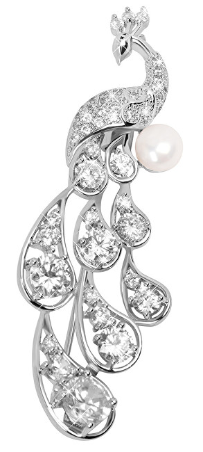 JwL Luxury Pearls Elegantní brož Páv s pravou perlou a krystaly JL0390