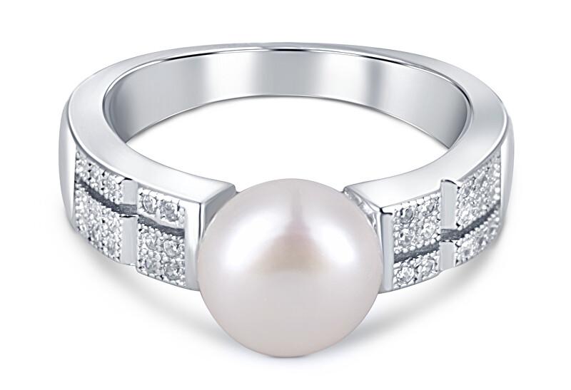 JwL Luxury Pearls Elegantný prsteň s pravou perlou a zirkónmi JL0646 (retiazka, prívesok) 55 mm
