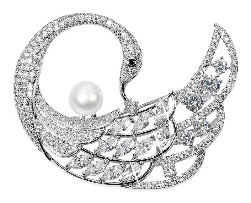 JwL Luxury Pearls Broșă exclusivă de broșe cu adevărat perle și cristale 2in1 JL0518
