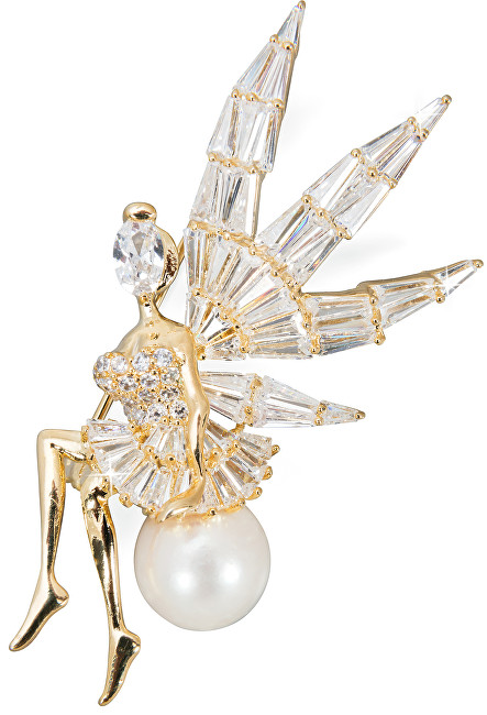 JwL Luxury Pearls Broșă de înger lucioasă de lux, cu perlă dreaptă JL0448
