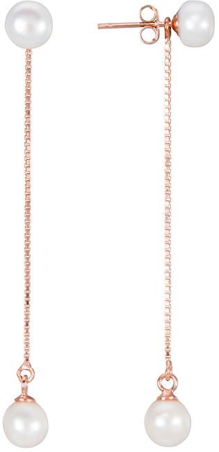 JwL Luxury Pearls Dlouhé stříbrné náušnice 2v1 s pravými perlami JL0451