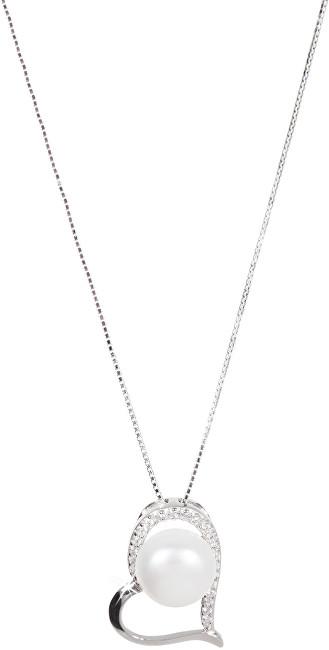 JwL Luxury Pearls Stříbrný náhrdelník se srdíčkem a pravou perlou JL0461 (řetízek, přívěsek)