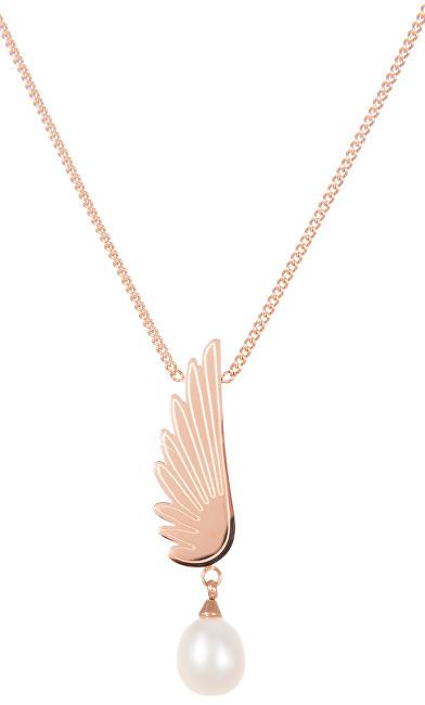 JwL Luxury Pearls Ocelový náhrdelník s pravou perlou Andělské křídlo JL0469CH
