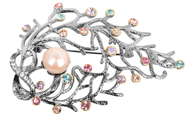 JwL Luxury Pearls Broșă de lux 2v1 cu perle dreapta și cristale colorate JL0389