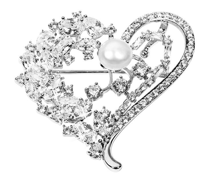 JwL Luxury Pearls Inel broșă de lux cu perle autentice și cristale 2in1 JL0506