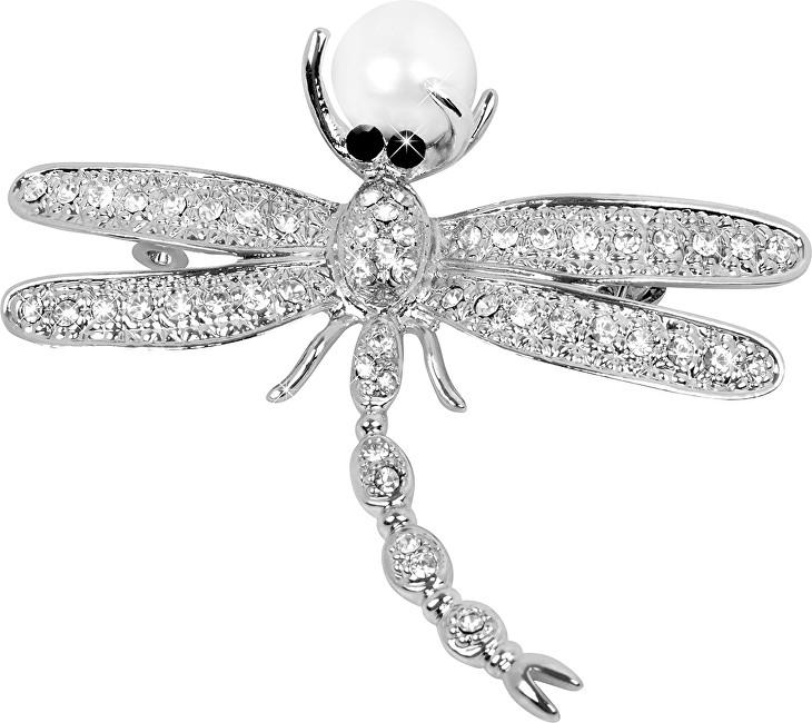 JwL Luxury Pearls Frumoasa broșă Dragonfly 2v1 cu perla dreapta JL0383