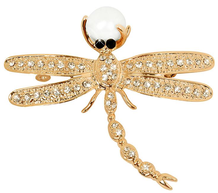 JwL Luxury Pearls Frumoasă aur broșă Dragonfly 2v1 cu perla dreapta JL0384