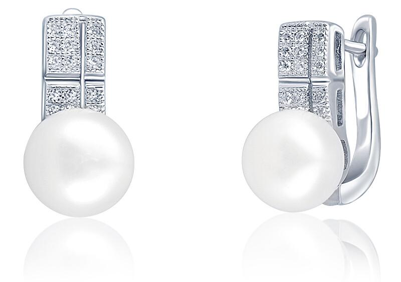 JwL Luxury Pearls Nádherné náušnice s pravou perlou a zirkónmi JL0644
