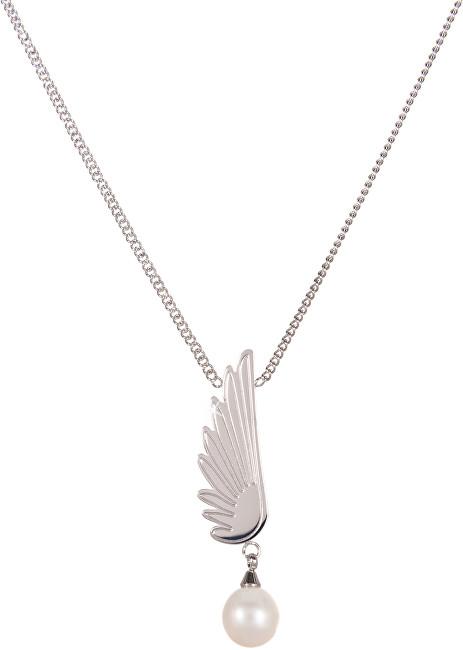 JwL Luxury Pearls Ocelový náhrdelník s pravou perlou Andělské křídlo JL0467CH