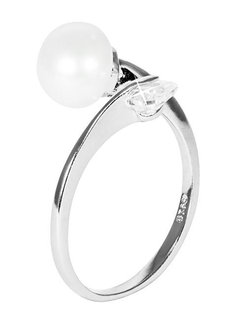 JwL Luxury Pearls Něžný stříbrný prsten s bílou perlou JL0543