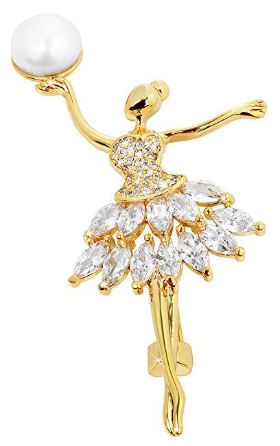 JwL Luxury Pearls Perlová pozlacená brož Baletka s krystaly JL0375