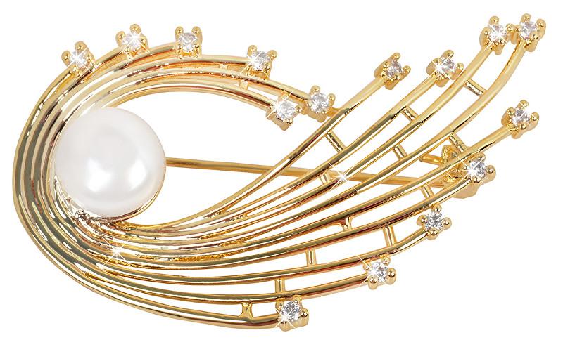 JwL Luxury Pearls Pearl broșă auriu cu cristale JL0377 și perle albe