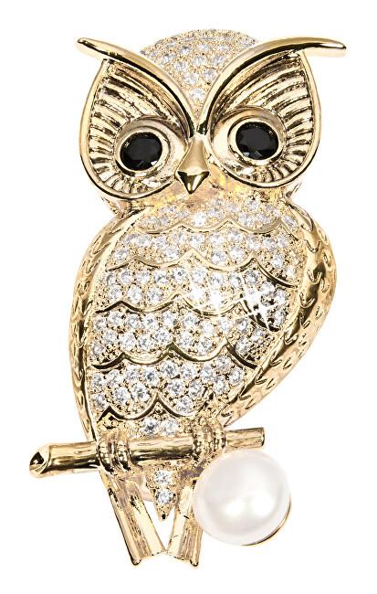 JwL Luxury Pearls Owl broșă de aur cu perle autentice și cristale JL0509