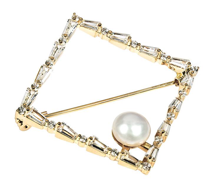 JwL Luxury Pearls Glittering broșă auriu cu perla autentică JL0520