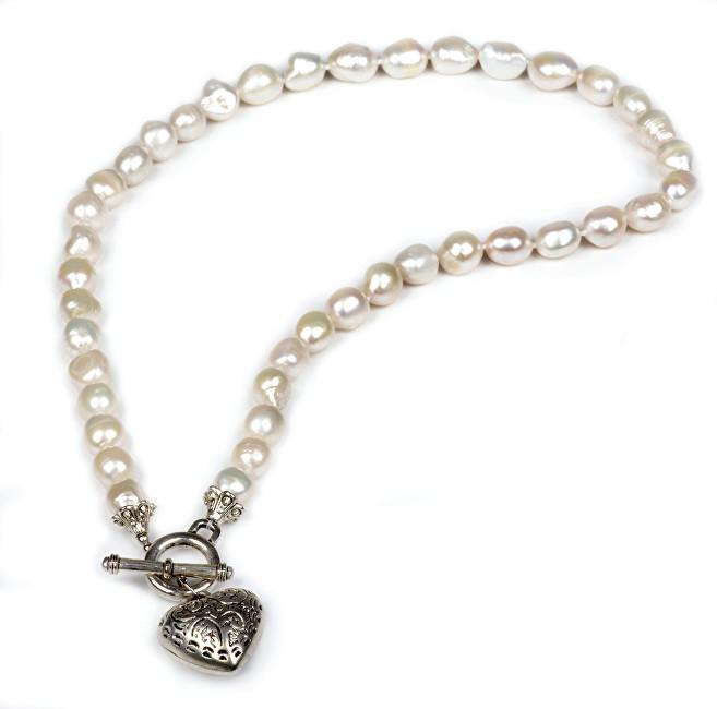 JwL Luxury Pearls Náhrdelník z pravých bielych perál s príveskom srdca JL0039