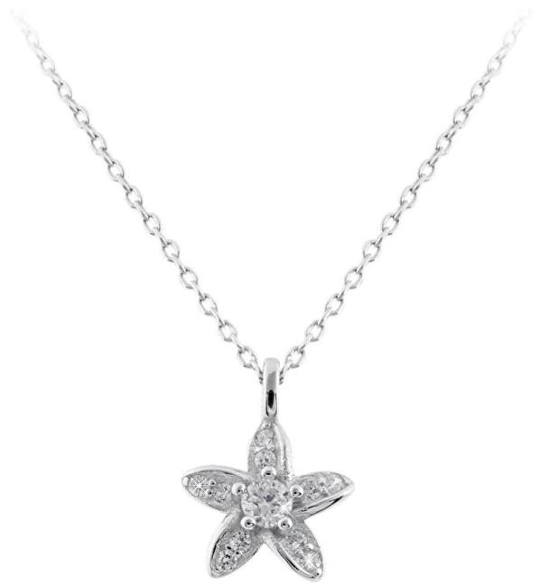 JVD Strieborný náhrdelník s kytičkou SVLN0210SD5BI45 (retiazka, prívesok)