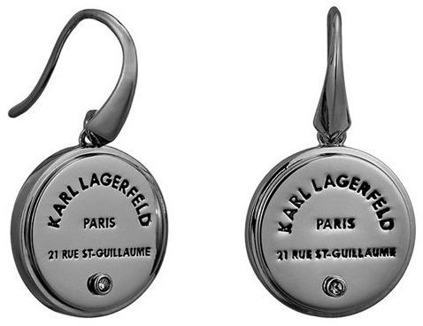 Karl Lagerfeld Slušivé černé náušnice s výrazným logem 5545291 Karl Lagerfeld