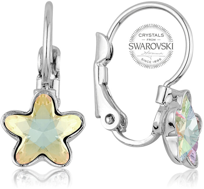 Levien Dívčí náušnice s duhovým krystalem STARBLOOM