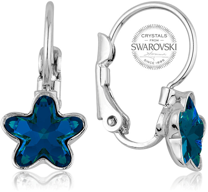 a7bc9aa87 Levien Dievčenské náušnice s modrým kryštálom STARBLOOM