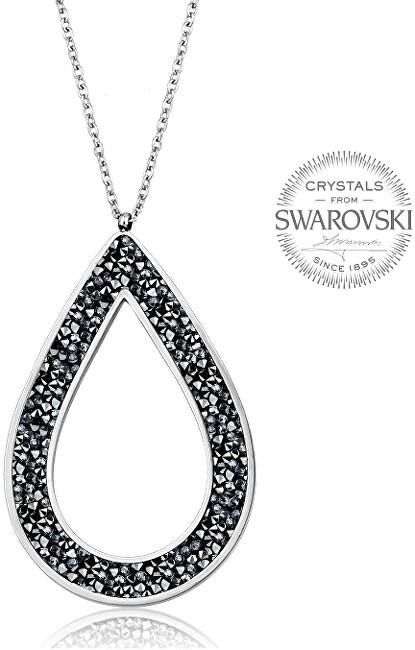 Levien Krásny náhrdelník s čiernymi kryštálmi SS Rocks Pear 49 grey metal