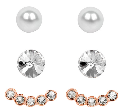 Levien Ear Cuff Rose Gold Crystal White 023