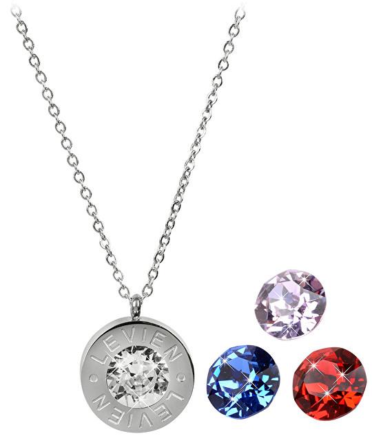 Levien Ocelový náhrdelník 4 v 1 s výměnnými krystaly C-LSI-SA-V - SLEVA
