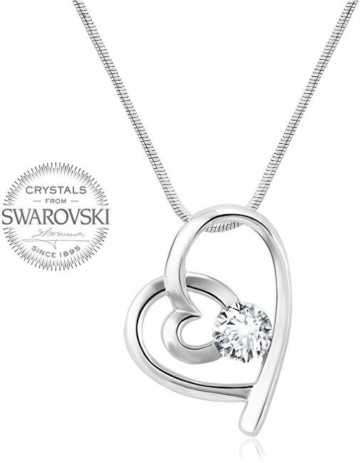 Levien náhrdelník Srdíčko s čirým krystalem LE0072