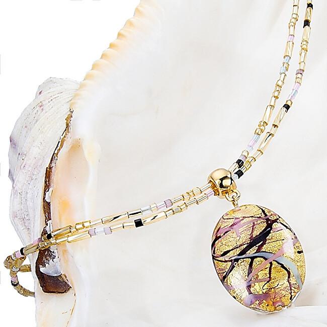 Lampglas Krásny náhrdelník pre ženy Romantic Roots s perlou Lampglas s 24 karátovým zlatom NP13
