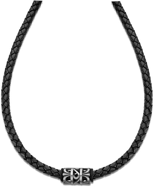 Lotus Style Čierny kožený náhrdelník LS2069-1 / 2
