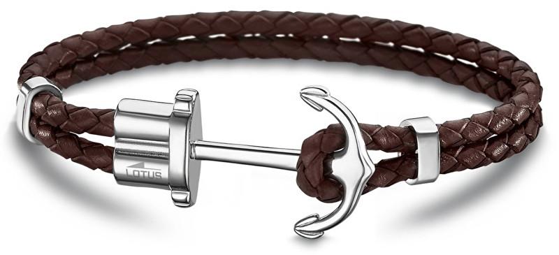 Lotus Style Hnědý kožený náramek s kotvou LS1881-2/4