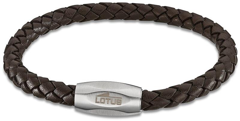 Lotus Style Tmavo hnedý kožený náramok LS2048-2 / 1