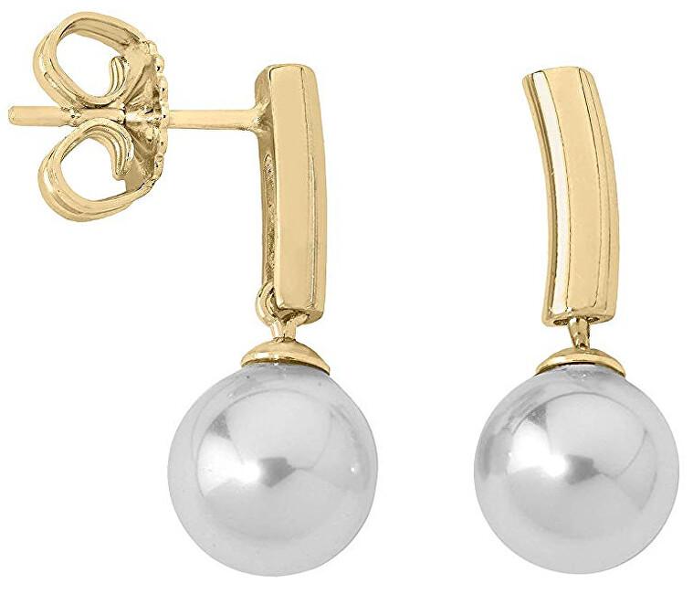 Majorica Pozlacené stříbrné náušnice s perlou 09135.01.1.000.703.1