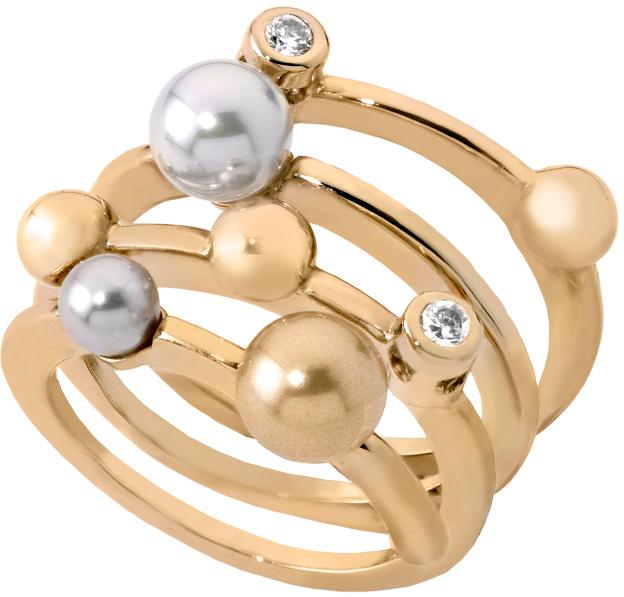 Majorica Spirálový stříbrný prsten s perlami 10554.34.1.911.010.1 51 mm