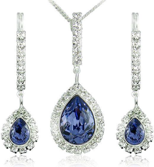 MHM Souprava šperků Avril Tanzanite 34125 (náušnice, řetízek, přívěsek)