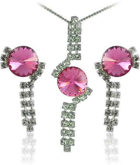 MHM Souprava šperků Rivoli Rose 34141 (náušnice, řetízek, přívěsek)