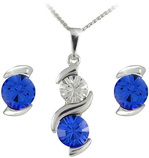 MHM Souprava šperků Sisi Sapphire 34148 (náušnice, řetízek, přívěsek)