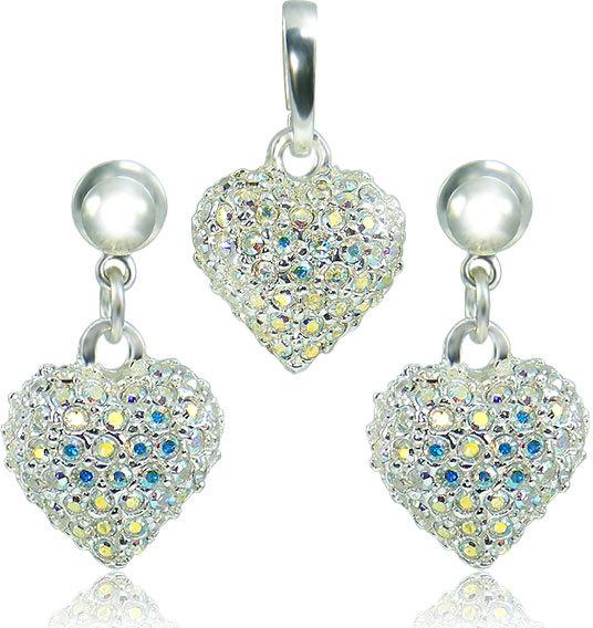 MHM Súprava šperkov Srdce M4 Crystal AB 3489