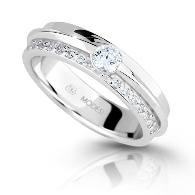 Modesi Třpytivý stříbrný prsten se zirkony M16020 - SLEVA