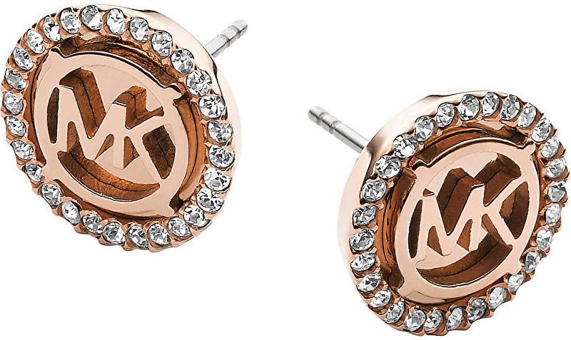 Michael Kors Pozlacené luxusní náušnice s logem a krystaly MKJ2942791