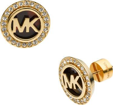 Michael Kors Pozlacené luxusní náušnice s logem a krystaly MKJ2943710