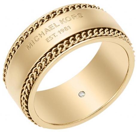 Michael Kors Pozlacený ocelový prsten MKJ5892710 60 mm