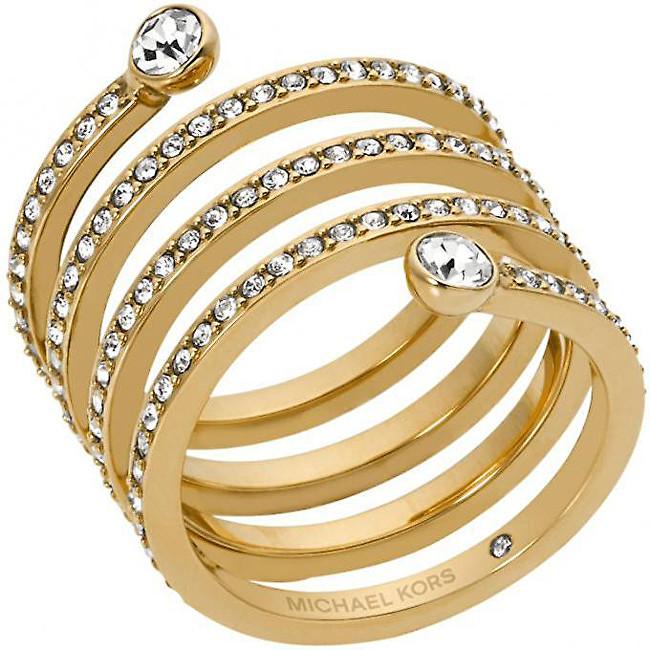 Michael Kors Pozlacený ocelový prsten s krystaly MKJ4722710 54 mm